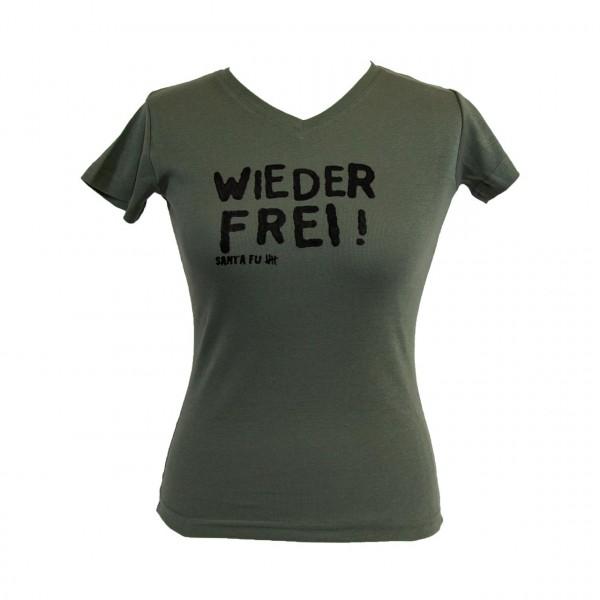 """Lady-Shirt oliv, """"Wieder frei!"""", kurzarm"""