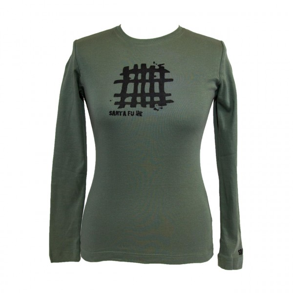 "Lady-Shirt oliv, ""Motiv Gitter"", langarm"