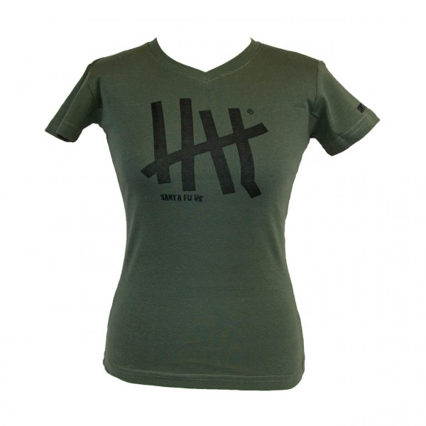 "Lady-Shirt oliv,""Motiv Five"", kurzarm"