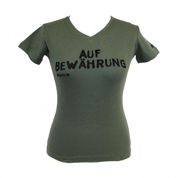 "Lady-Shirt oliv, ""Auf Bewährung"", kurzarm"