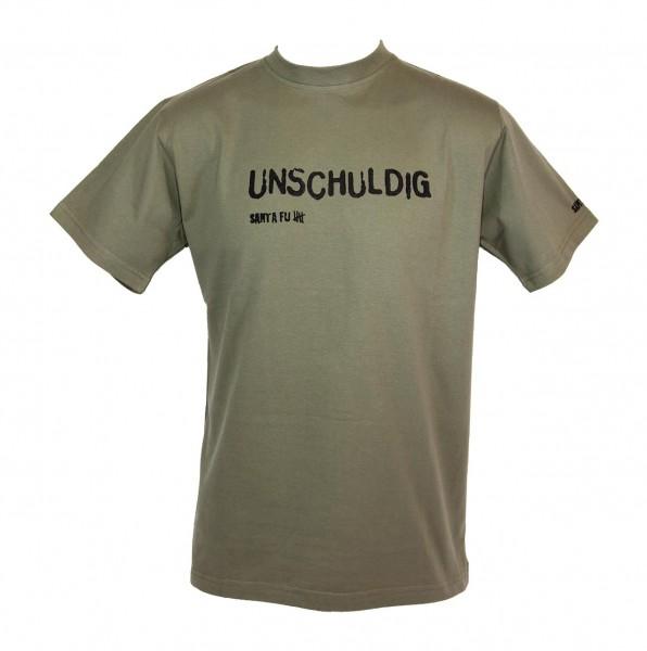 """T-Shirt oliv, """"Unschuldig"""""""