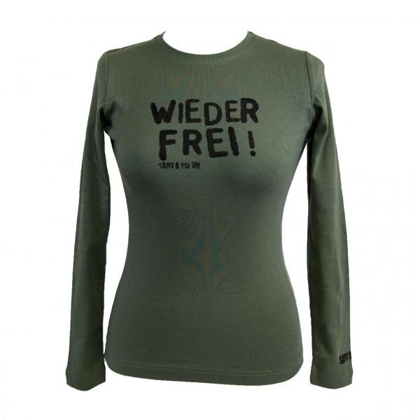 "Lady-Shirt oliv, ""Wieder frei!"", langarm"