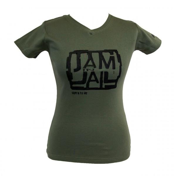 """Lady-Shirt oliv,""""JAM IN JAIL"""", kurzarm"""