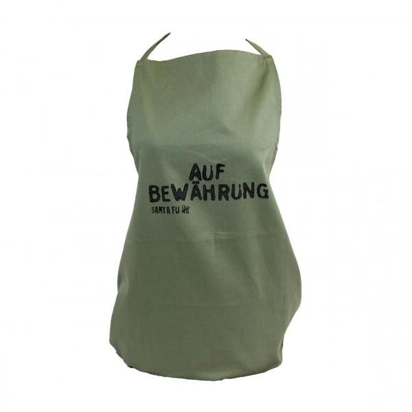"""Kochschürze oliv, """"Auf Bewährung"""""""