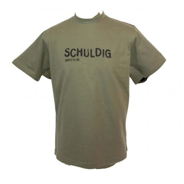 """T-Shirt oliv, """"Schuldig"""""""