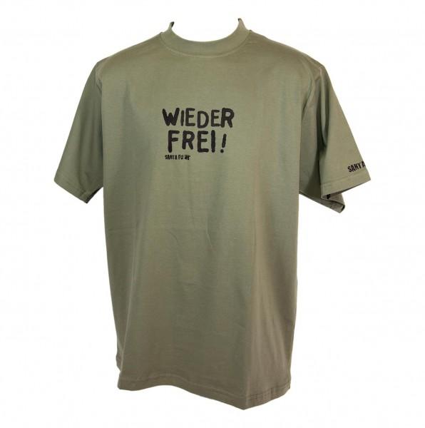 """T-Shirt oliv, """"Wieder frei!"""""""