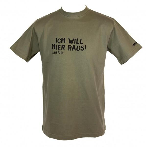 """T-Shirt oliv, """"Ich will hier raus!"""""""