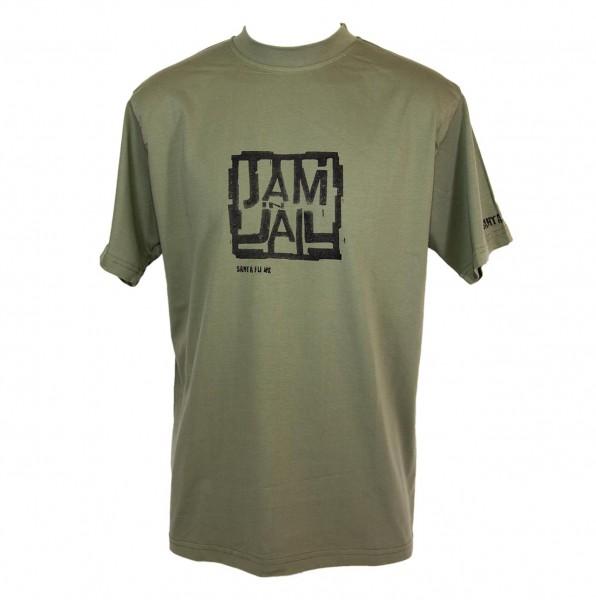 "T-Shirt oliv, ""JAM IN JAIL"""