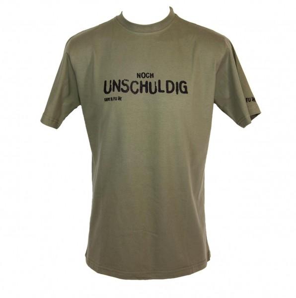 "T-Shirt oliv, ""Noch unschuldig"""