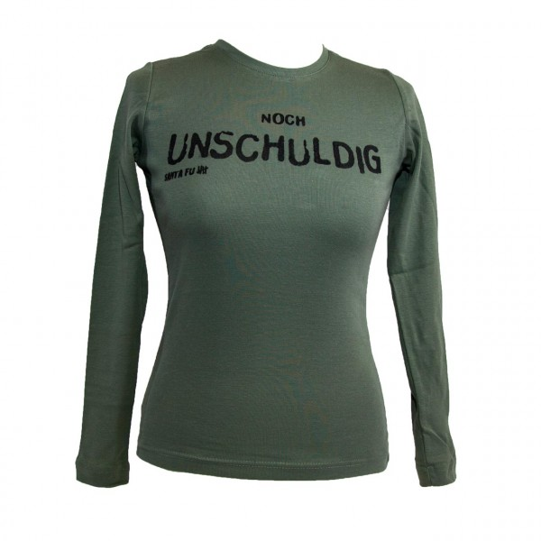"Lady-Shirt oliv, ""Noch unschuldig"", langarm"